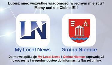 Grafika ogólna herb na tle zdjęcia gminy, napis aplikacja mobilna Gminy Niemce i My Local News