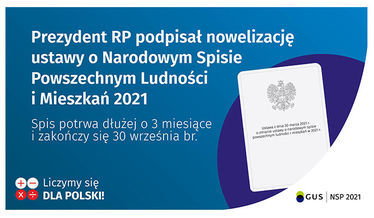 Na zdjęciu grafika informująca o przedłużeniu Narodowego Spisu Powszechnego do 30 września