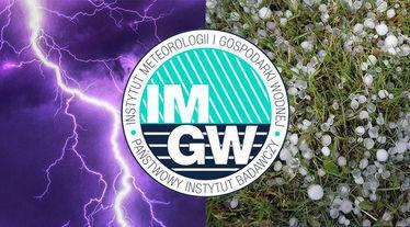 Grafika ogólna burze z gradem z logo IMGW