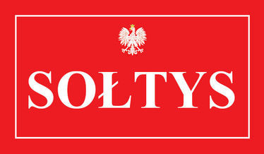"""Grafika przedstawia Godło Polski oraz napis """"Sołtys"""" w białych kolorach na czerwonym tle"""