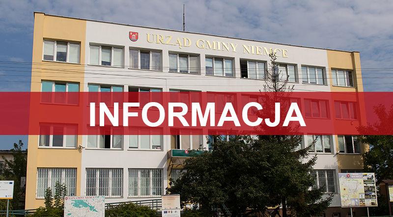 Na zdjęciu budynek Urzędu Gminy, na środku napis informacja.
