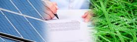 Grafika ogólna dla oze - panele fotowoltaiczne, podpisanie umowy i trawa