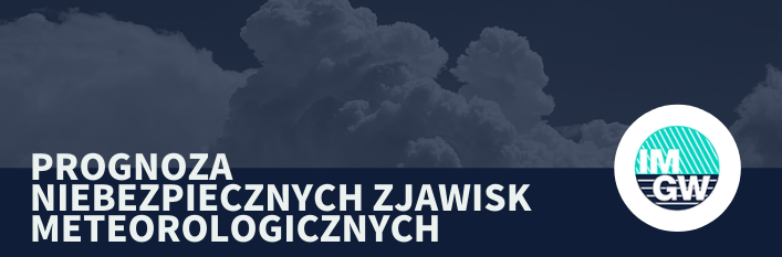 Grafika napis na niebieskim tle - prognoza zjawisk meteorologicznych z logo imgw