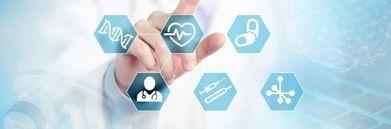 Grafika lekarz w kitlu z graficznymi ikonami medycznymi