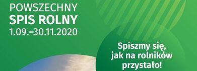 Baner z napisem POWSZECHNY SPIS ROLNY 1.09.-30.11.2020 Spiszmy się, jak na rolników przystało!