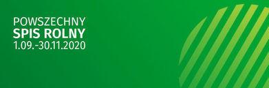 Grafika Napis na zielonym tle POWSZECHNY SPIS ROLNY 1.09.-30.11.2020