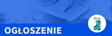 Napis ogłoszenie na niebieskim tle OGŁOSZENIE  z logo Gminy