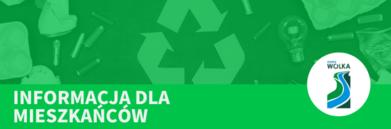 Grafika napis na zielonym tle z logo Gminy - napis INFORMACJA DLA MIESZKAŃCÓW