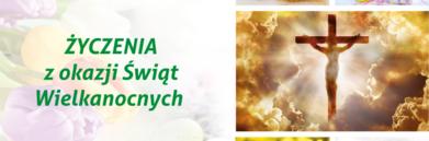 Grafika wielkanocna i napis Życzenia z okazji Świąt Wielkanocnych