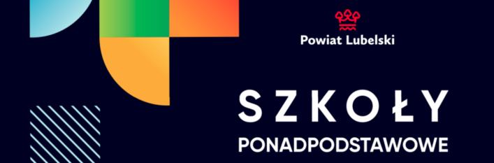 Grafika: Na granatowym tle geometryczne kolorowe kształty, logo powiatu Lubelskiego, napis SZKOŁY PODSTAWOWE Informator 2021/2022