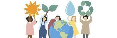 Baner graficzny dzieci opiekują się planetą