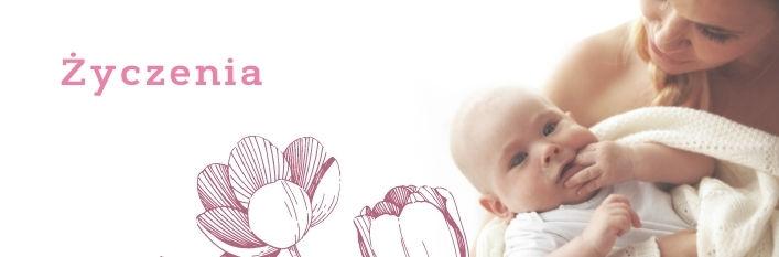 Kobieta z dzieckiem i napis życzenia
