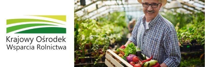 Logo Krajowy Ośrodek Wsparcia Rolnictwa i zdjęcie rolnika z koszem owoców