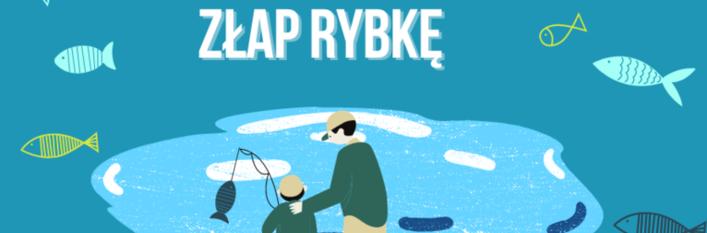 Ilustracja dwie osoby łapią rybkę