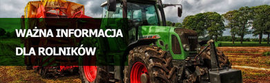 Traktor i napis WAŻNA INFORMACJA DLA ROLNIKÓW