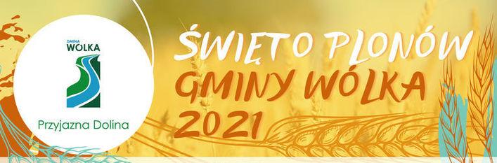 Logo gminy z napisem Święto Plonów Gminy Wólka 2021