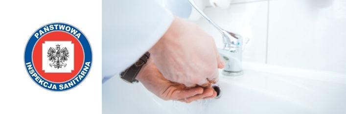 Logo Państwowa inspekcja sanitarna i zdjęcie osoby myjącej ręce