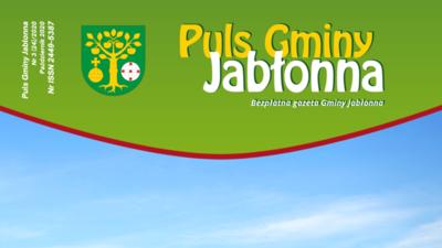 Okładka gazety Puls Gminy Jabłonna: logo gazety i herb na zielonym tle, na dole fragment zdjęcia nieba.