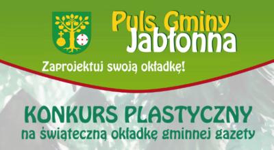 Fragment okładki gazety Puls Gminy Jabłonna z logo gminy na zielonym tle
