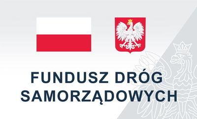 Flaga i godło polski z napisem Fundusz Dróg Samorządowych