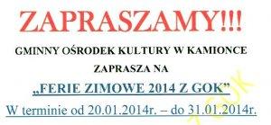 FERIE ZIMOWE 2014 Z GOK