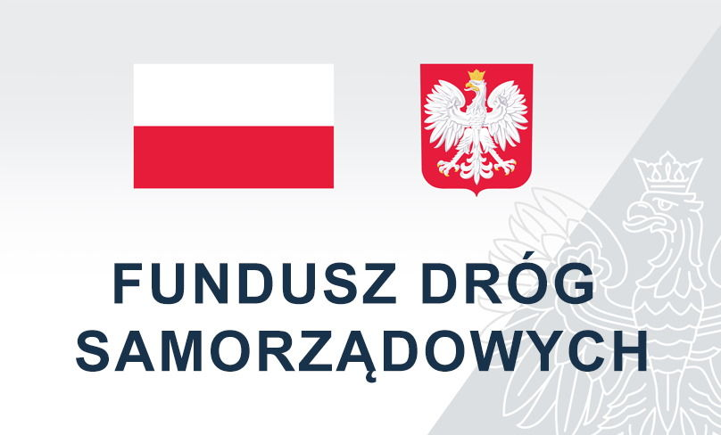 Flaga i godło Polski napis FUNDUSZ DRÓG SAMORZĄDOWYCH