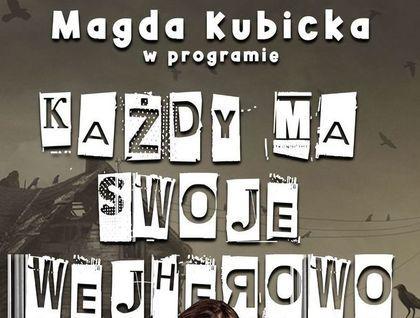 """Plakat z nagłówkiem """"Magda Kubicka w programie Każdy ma swoje Wejherowo"""""""