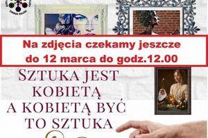 Kawałek plakatu z napisami:  Na zdjęcia czekamy jeszcze do 12 marca do godz.12.00 SZTUKA JEST ΚΟΒIEΤΑ Α ΚΟΒΙΕΤΑ ΒYC TO SZTUKA BIBLI TURY