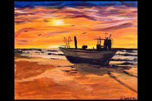 Obraz zachód słońca nad morzem