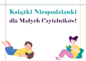 Grafika: Napis książki niespodzianki dla małych czytelników.