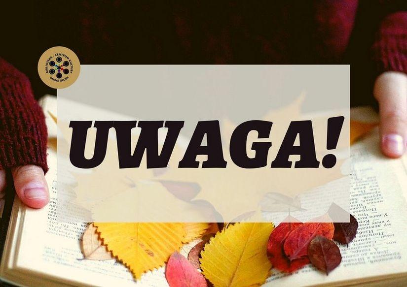 Jesienna grafika z napisem Uwaga!
