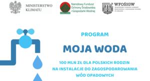 """Dofinansowanie z programu """"Moja Woda"""" – 1.07.2020 r. rusza nabór wniosków"""