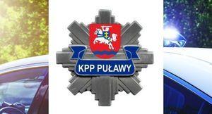 Logo KPP PUŁAWY na tle radiowozu