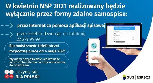 grafika z napisami: W kwietniu NSP 2021 realizowany będzie wyłącznie przez formy zdalne samospisu: przez Internet za pomocą aplikacji spisowej przez telefon dzwoniąc na Infolinię 22 279 99 99 Rachmistrzowie telefoniczni rozpoczną pracę od 4 maja 2021 SAMOSPIS Wywiady bezpośrednie realizowane przez rachmistrzów zostały wstrzymane do odwołania Liczymy się X + DLA POLSKI! GUS NSP 2021