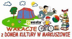 Ilustracja dzieci i napis Wakacje z domem kultury w Markuszowie