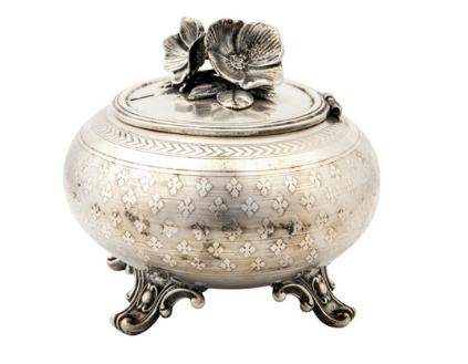 Oval sugar bowl with a lock