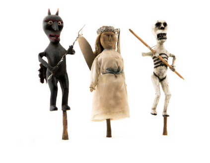 Kukiełki z szopki kolędniczej – śmierć, diabeł i anioł