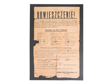 Druk – Obwieszczenie Dowódcy Policji Bezpieczeństwa i SD na Okręg Lubelski o skazaniu na karę śmierci