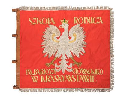The banner of Bartosz Głowacki Agricultural School in Krasnystaw