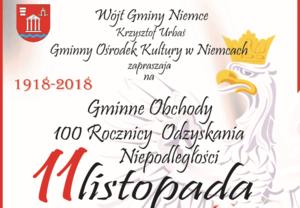 ZAPROSZENIE: na Gminne Obchody 100 Rocznicy Odzyskania Niepodległości