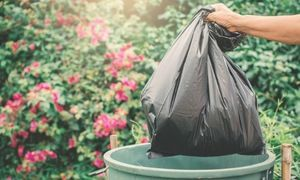 Osoba wyrzuca worek do śmieci