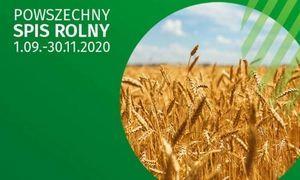 Baner z napisem na zielonym tle powszechny spis rolny
