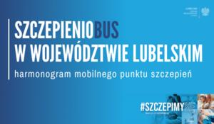 Plakat informujący o harmonogramie mobilnego punktu szczepień