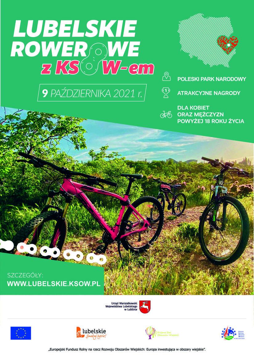 """Plakat promujący rajd rowerowy """"Lubelskie Rowerowe z KSOW-em"""