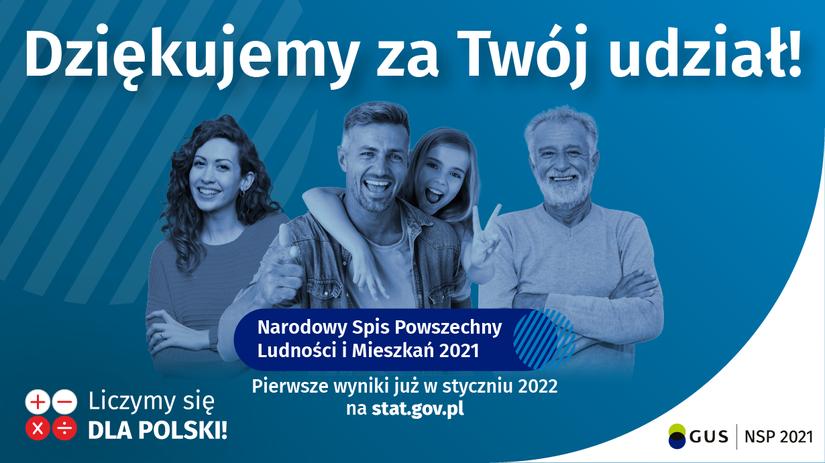 """Plakat z napisem """"Dziękujemy za Twój udział w Narodowym Spisie Powszechnym 2021 """""""