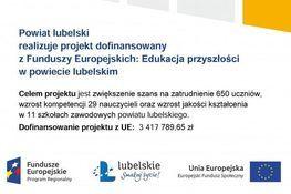 Grafika z napisem: Powiat Lubelski realizuje projekt dofinansowany z Funduszy Europejskich: Edukacja przyszłości w powiecie lubelskim