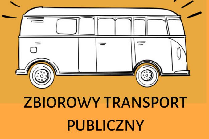 Na zdjęciu znajduje się rysunkowy autobus na żółtym tle. Pod autobusem napisane jest Zbiorowy Transport Publiczny
