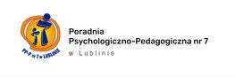 Na zdjęciu znajduje się logo i napis Poradnia Psychologiczno-Pedagogiczna nr 7 w Lublinie