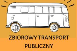 żółte tło z naszkicowanym autobusem i napisem Zbiorowy Transport Publiczny