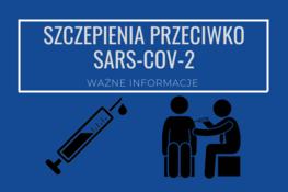 napis na granatowym tle szczepienia przeciwko sars-cov-2 i ikona strzykawki